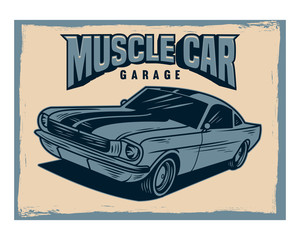 muscle car garage classic vintage retro image
