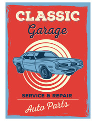 classic garage service repair auto parts vintage retro old school image poster