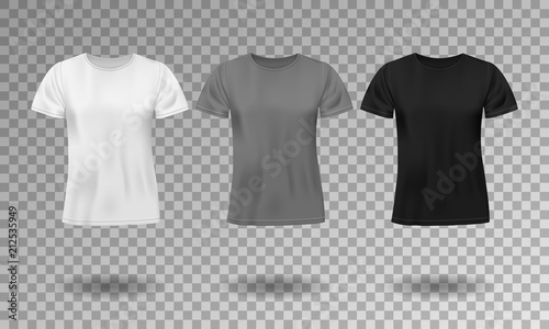 black white and gray realistic male t shirt with short sleeves