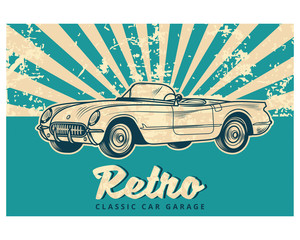 blue grunge retro classic car garage vintage old school retro