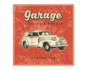 grunge garage service repair classic car vintage retro image