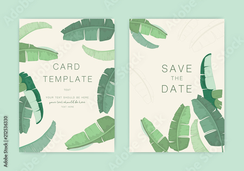 wedding invitation banana leaf and tropical palm decorative vector