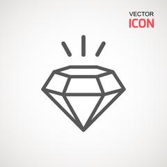 Diamond Icon Vector. Diamond sign icon. Jewelry symbol. Gem stone. Graphic element. Silhouette simple. Logotype concept. Logo design template. Simple flat symbol. Perfect Gray pictogram illustration
