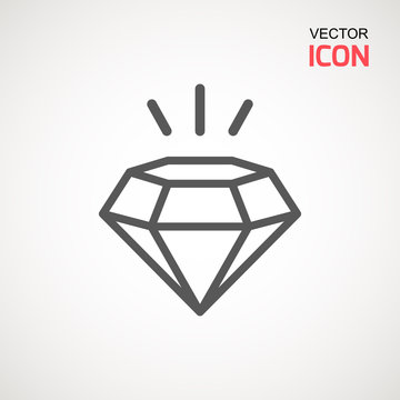 Diamond Icon Vector. Diamond sign icon. Jewelry symbol. Gem stone. Graphic element. Silhouette simple. Logotype concept. Logo design template. Simple flat symbol. Perfect Gray pictogram illustration