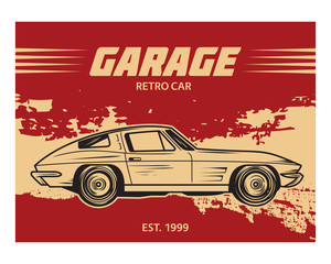 grunge garage retro car classic vintage old school image