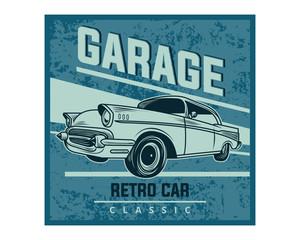 blue grunge garage retro car classic vintage image