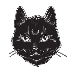 Cute black cat with moon on his forehead line art and dot work. Wiccan familiar spirit, halloween or pagan witchcraft theme tapestry print design vector illustration.