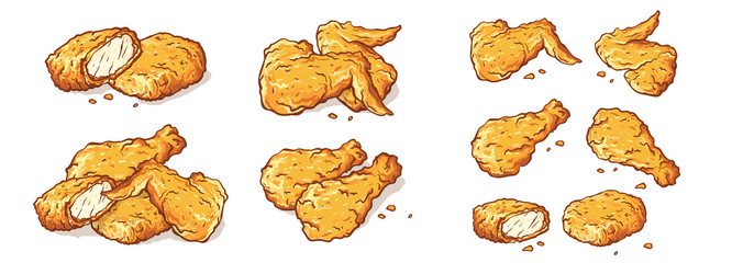 leg wings and nuggets Fried Chicken Isolated Set vector illustration