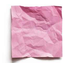 Crumpled Purple Note paper with blank space and shadow