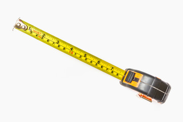 Top view of tape measure isolated on white