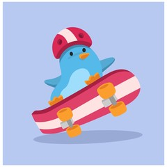 cute funny freestyle skater penguin animal mascot cartoon character