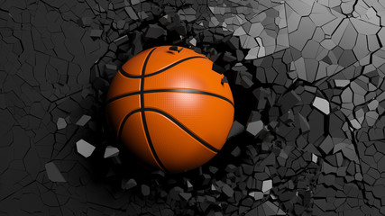 Basketball ball breaking forcibly through a black wall. 3d illustration.