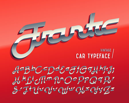 "Vintage car typeface named ""Frantic"" with crome 3d effect on glossy red background"
