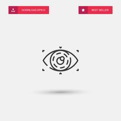 Outline Eye Icon isolated on grey background. Modern simple flat symbol for web site design, logo, app, UI. Editable stroke. Vector illustration. Eps10