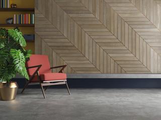 Empty living room modern interior with armchair, plant, concrete floor, wood.