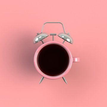 Alarm clock and coffee concept illustration isolated on pink background, Top view with copy space, 3d rendering