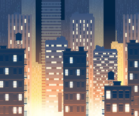 Vector illustration of modern buildings at night. Background with urban large buildings - skyscrapers. Townish, municipal concept for banner, poster.