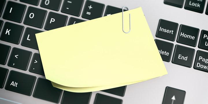 Yellow sticky notes on laptop background. 3d illustration.