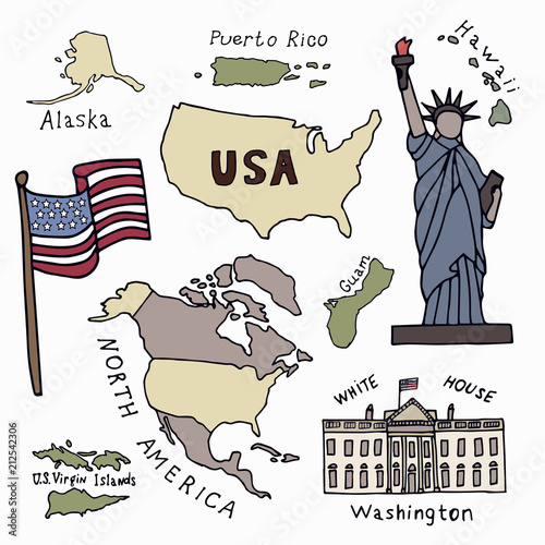 Map of the United States of America and the symbols of America ...