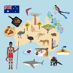 Australia travel illustration