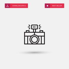 Outline Photo Icon isolated on grey background. Modern simple flat symbol for web site design, logo, app, UI. Editable stroke. Vector illustration. Eps10