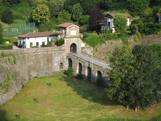 Bergamo, Italy. Landscape on the old gate named Porta San Lorenzo, one of the four access doors to the old city