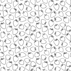 Blue ink doodle hand drawn isolated strawberry seamless pattern on white background. Sketched abstract vector food illustration.