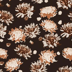 Vector seamless floral pattern. Japanese national flower chrysanthemum. Illustration luxury design, textiles, paper, wallpaper, curtains, blinds.