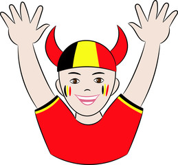 Vector cheerful joyful football fan of Belgium national team raised his hands up and rejoices at the victory