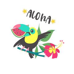 Hello summer. Aloha. Cute funny cartoon Toucan. Tropical paradise. Vector illustration.
