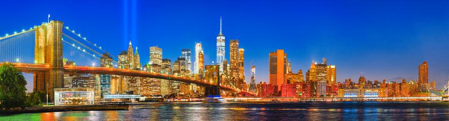 New York night view of the Lower Manhattan.