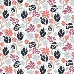 Cut out dense paper flower blue rose seamless vector pattern.