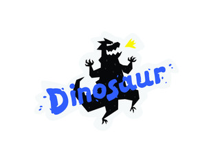 Illustration of a cartoon dinosaur. Vector illustration. Logo Dinosaur inscription. Image is isolated on white background. Logo, emblem for the company. Mascot company. Symbol.