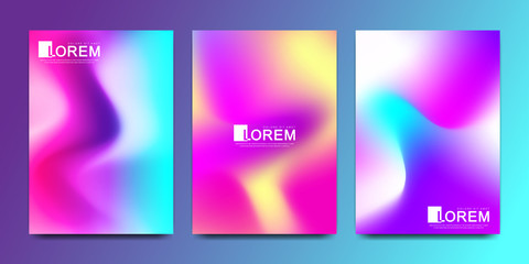 Vector design template in trendy vibrant gradient colors with abstract fluid shapes, paint splashes, ink drops. Futuristic posters, banners, brochure, flyer and cover designs. Abstract fluid 3d shape.