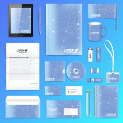 Geometric graphic set of vector corporate identity template. Business stationery mock-up. Scientific cybernetic background molecule and communication. Lines plexus. Minimal array with compounds.