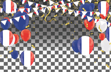 Balloons with Countries flags of national France flags team group and ribbons flag ribbons, Celebration background template. victory.winner.football