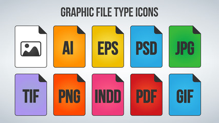 Set of graphic or Image File Formats icons. Vector illustration isolated on white background.