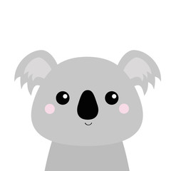 Koala face head. Gray silhouette. Kawaii animal. Cute cartoon bear character. Funny baby with eyes, nose, ears. Love Greeting card. Flat design. White background Isolated.