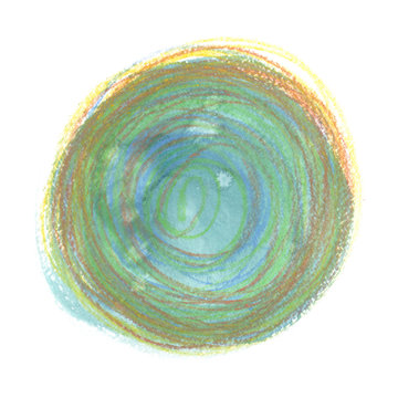 Teal green and yellow circle painted in watercolor and colored pencils on clean white background