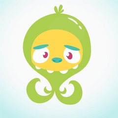 Cute cartoon monster alien or octopus. Vector illustration of green monster for Halloween