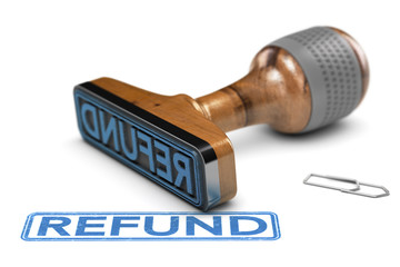 Tax Refund, Rubber Stamp Over White Background