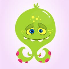 Cute cartoon monster alien or octopus. Vector monster illustration  for Halloween