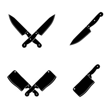 Knife icon set. Vector art.