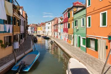 Aluminium Prints Venice colourful houses with canal in Burano near Venice, Italy