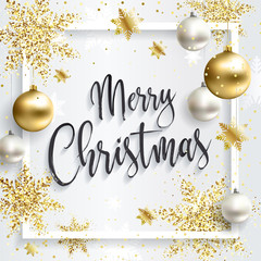 Square christmas card with gold sequins. Merry Christmas calligraphic inscription. White clean background. Golden xmas balls.
