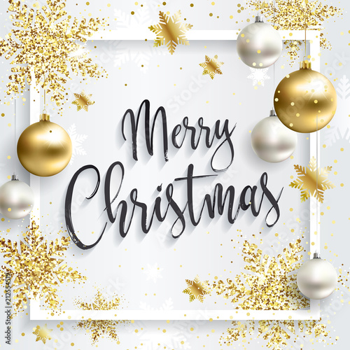 Christmas Greetings Background.Square Christmas Card With Gold Sequins Merry Christmas