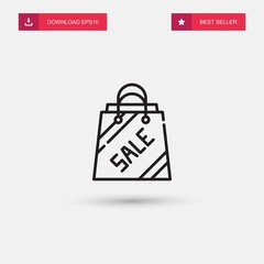 Outline Shopping Bag Icon isolated on grey background. Modern simple flat symbol for web site design, logo, app, UI. Editable stroke. Vector illustration. Eps10