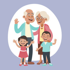 Happy grandparents and two little grandchildren portrait. Happy grandparents day concept. Vector illustration in cartoon style.