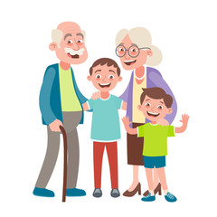 Grandparents and two grandsons portrait. Happy grandparents day concept. Vector illustration in cartoon style, isolated on white background.
