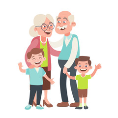 Grandparents and two grandchildren portrait. Happy grandparents day concept. Vector illustration in cartoon style, isolated on white background.